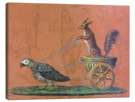 Tableau sur toile  Parrot draws cars with squirrels