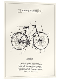 Verre acrylique  Vintage parts of a Bicycle anatomy - Nory Glory Prints