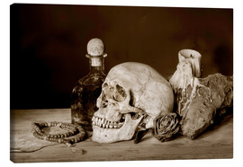 Tableau sur toile  Still Life - skull, ancient book, dry rose and candle