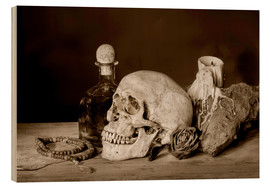 Tableau en bois  Still Life - skull, ancient book, dry rose and candle