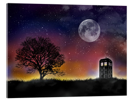 Verre acrylique  Le TARDIS de Doctor Who la nuit - Golden Planet Prints