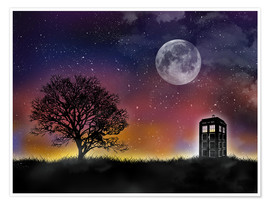 Poster  Le TARDIS de Doctor Who la nuit - Golden Planet Prints