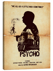 Toile  Psycho movie inspired hitchcock silhouette art print - Golden Planet Prints