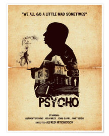 Poster  Psycho (anglais) - Golden Planet Prints