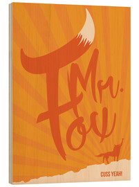 Tableau en bois  Fantastic Mr. Fox - Golden Planet Prints