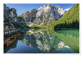 Poster Braies Lake, South Tyrol, Italy