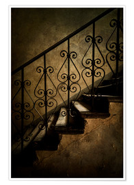 Poster Old staircase with ornamented handrail