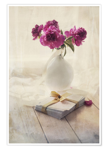 Poster Still life with pink peonies and love letters