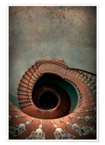 Poster Spiral staircase in red