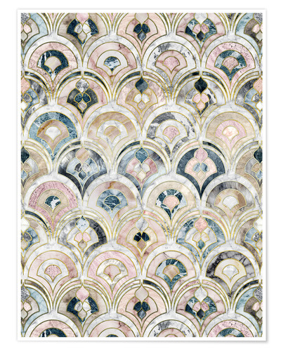 Poster Art Deco Marble Tiles in Soft Pastels