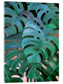 Verre acrylique  Monstera Love in Teal and Emerald Green - Micklyn Le Feuvre