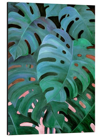Alu-Dibond  Monstera Love in Teal and Emerald Green - Micklyn Le Feuvre
