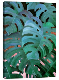 Toile  Monstera Love in Teal and Emerald Green - Micklyn Le Feuvre