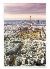 Poster Paris from above in autumn