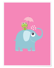 Poster One frog and one elephant pink