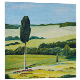 Tableau en PVC  Lonely Cypress Tree on Terrapille Close to Pienza Tuscany - Christine Huwer