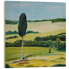 Tableau en bois  Lonely Cypress Tree on Terrapille Close to Pienza Tuscany - Christine Huwer