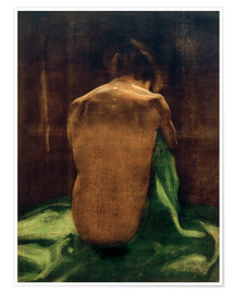 Poster  Female back on green cloth - Käthe Kollwitz