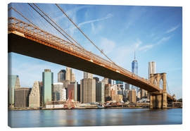 Tableau sur toile  Brooklyn bridge and Manhattan skyline at sunrise, New York city, USA - Matteo Colombo
