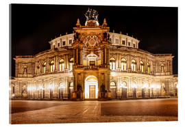 Tableau en verre acrylique  Saxon State Opera House in Dresden at night (Germany) - Christian Müringer
