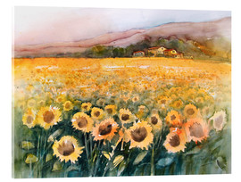 Tableau en verre acrylique  Sunflower field in the Luberon, Provence - Eckard Funck