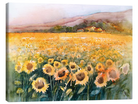 Tableau sur toile  Sunflower field in the Luberon, Provence - Eckard Funck