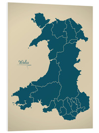 Tableau en PVC  Wales UK Map Artwork petrol - Ingo Menhard