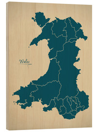 Tableau en bois  Wales UK Map Artwork petrol - Ingo Menhard