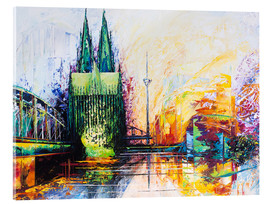 Tableau en verre acrylique  Cologne Cathedral Skyline colored - Renate Berghaus
