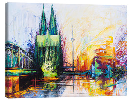 Tableau sur toile  Cologne Cathedral Skyline colored - Renate Berghaus
