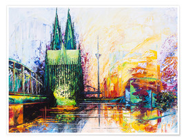 Poster  Cologne Cathedral Skyline colored - Renate Berghaus