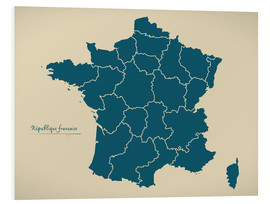 Tableau en PVC  France Modern Map Artwork Design petrol - Ingo Menhard
