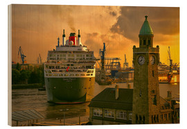 Tableau en bois  Queen Mary II Landungsbrücken Hamburg - Sabine Wagner
