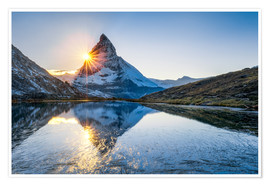 Poster Riffelsee and Matterhorn in the Swiss Alps