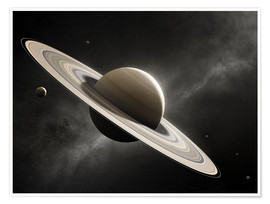 Poster  Planet Saturn with major moons - Johan Swanepoel