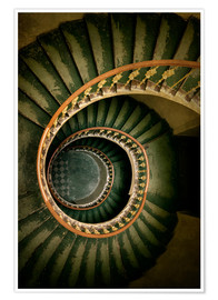 Poster  Spiral staircase in green and brown tones - Jaroslaw Blaminsky
