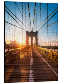 Alu-Dibond  Pont de Brooklyn sous le soleil, New York City, USA - Jan Christopher Becke
