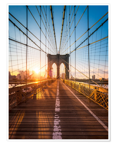 Poster Pont de Brooklyn sous le soleil, New York