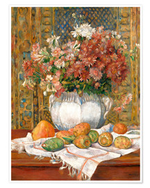 Poster  Still Life with Flowers and Prickly Pears - Pierre-Auguste Renoir