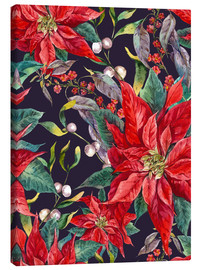 Toile  Christmas floral pattern