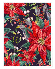 Poster  Christmas floral pattern