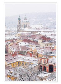 Poster  winter roofs of Ledebursky palace and St. Nicolas church, Prague