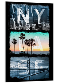 Tableau en PVC  New York, Los Angeles, San Francisco