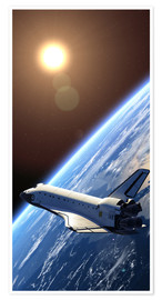 Poster  Space shuttle orbiting earth