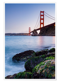 Poster  Rochers couverts de mousse et pont du Golden Gate