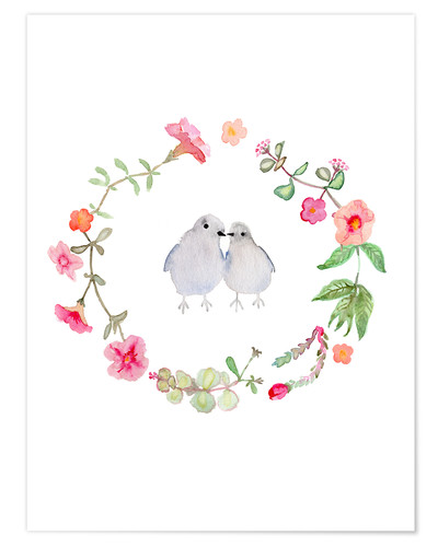 Poster Wreath with love birds
