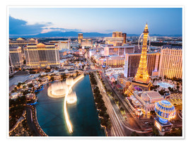 Poster  View on Bellagio fountain and the Strip, Las Vegas, Nevada, USA - Matteo Colombo