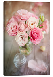 Toile  Romantic rose bouquet with feather