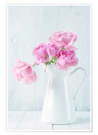 Poster Roses roses dans une cruche blanche