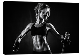 Tableau sur toile  Sportswoman with barbell